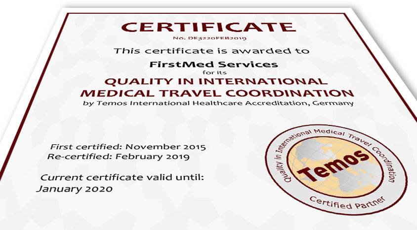 Temos Zertifikat FirstMed Services Quality in International Medical Travel Coordination